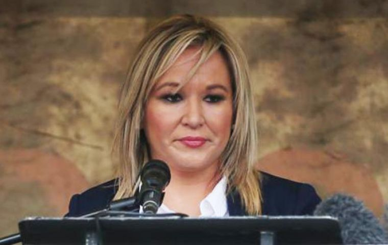 Michelle O'Neill said any return of physical infrastructure at the border between Northern Ireland and Ireland after Brexit would be a security threat