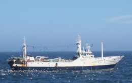 Fishing vessel in Falklands waters - In 2017 all loligo squid imported to Spain came from the Falklands