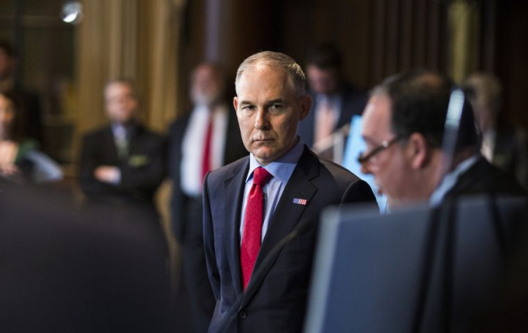 Federal officials are looking into some questions surrounding Pruitt, including first-class airline travel and ordering a US$ 43,000 soundproof booth for his office