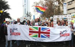 Despite winter weather, a group from the Embassy enthusiastically marched with the LOVEisGREAT Britain banner and photo frame