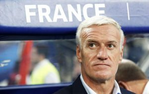 "After beating Uruguay, Deschamps said his side had ""again raised our level"" after the 4-3 win over Argentina in the last 16."
