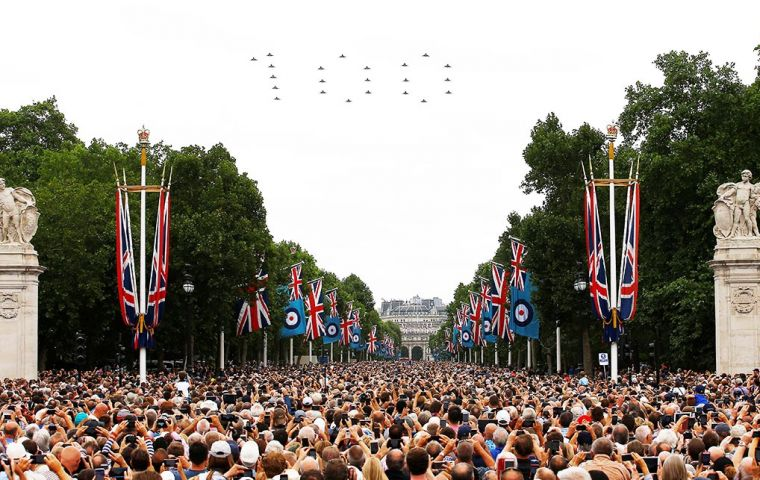 According to the London Met Police, an estimated 65,000 to 70,000 people gathered on The Mall to watch the parade and fly-past