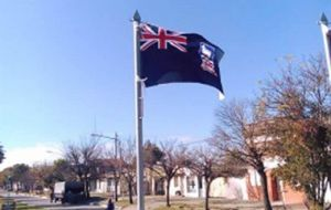 The flag hoisted in Ceres on July 9 was that of the Falkland Islands