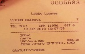 """ I took a picture of it and posted"" the restaurant bill the emir of Qatar failed to pay in time, as released by O Estado de S. Paulo's Jamile Chade."