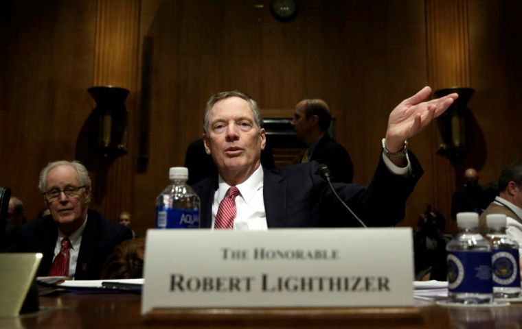 The retaliatory tariffs on up to a combined US$28.5 billion worth of U.S. exports are illegal under WTO rules, U.S. Trade Representative Robert Lighthizer said. REUTERS/Yuri Gripas