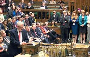 "Opposition leader Corbyn opened by claiming the Government has ""sunk into a mire of chaos and division"""
