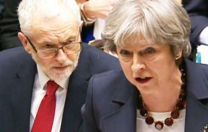 "In a rowdy PMQs, Mrs. May also accused Mr. Corbyn of being ""plain wrong"" over his interpretation of the Government's Brexit approach"