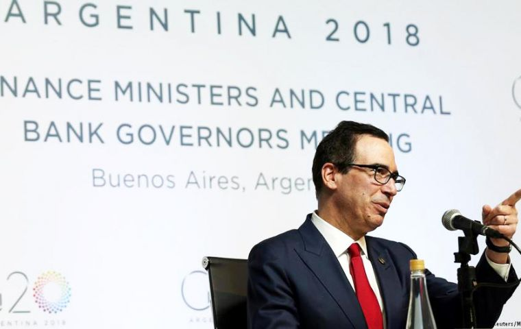 "Treasury Secretary Steven Mnuchin is set to ""respond to concerns on US trade policies"" in the G20's finance ministers and central bankers meeting"