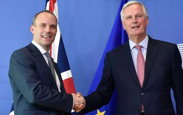 The European Commission released its report as Dominic Raab made his first visit to Brussels as Brexit Secretary for talks with chief EU negotiator Michel Barnier