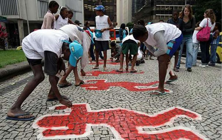 "On 23 July 1993 eight boys who were sleeping rough near Rio's Candelária Church were killed by off duty officers as part of a non official ""extermination"" policy"