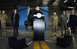 """It's important that they can collaborate in internal security, mainly by providing logistic support in the border zones,"" Macri said at a public act in a military base"