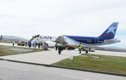 Latam currently operates the only weekly commercial flight to the Falklands