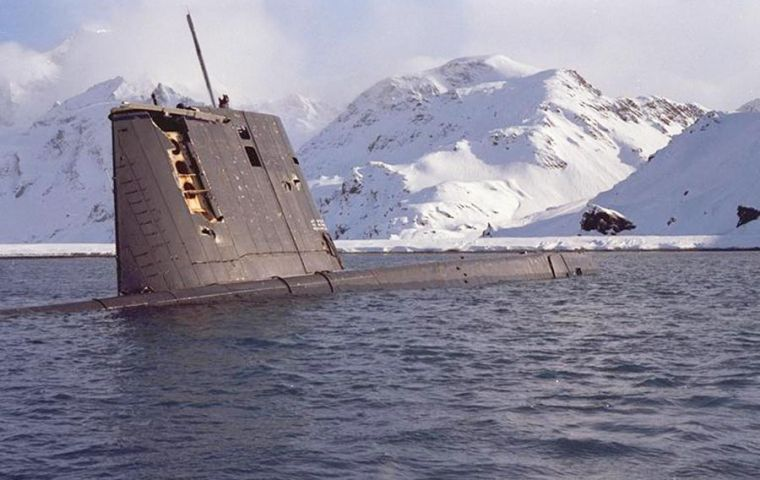 The strapped ARA Santa Fe pictured at Grytviken