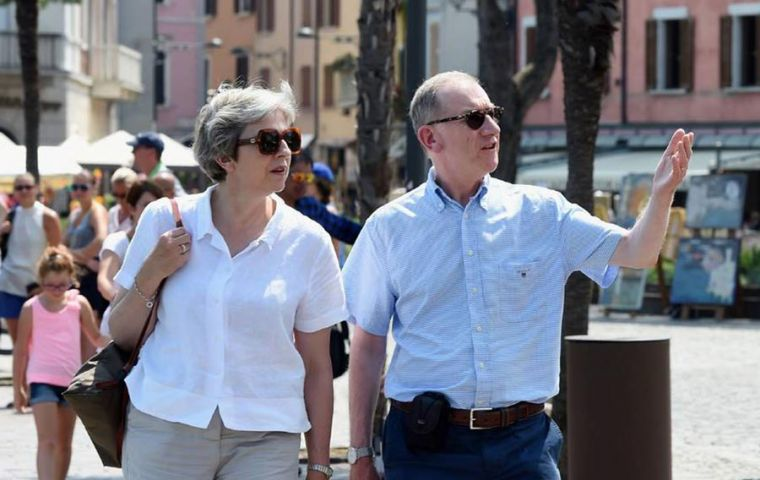 Theresa May fresh from her key Brexit proposal being rejected by the EU on Thursday, is currently on holidays in Italy with her husband.