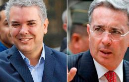 Uribe, 66,(R) is a mentor of incoming President Ivan Duque (L), who won the June 17 election as the candidate for Uribe's right-wing Democratic Center party.