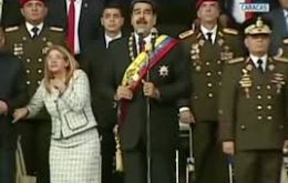 Maduro was reading a speech during an event the government says was meant to mark the 81st anniversary of the country's National Guard