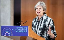 "Prime Minister Theresa May was in Scotland to mark the signing of a ""city deal"" investment package for the south east region"