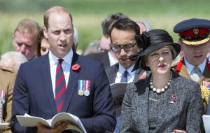 Prince William, Duke of Cambridge and Prime Minister, Theresa May, were among the distinguished attendants of the ceremony at Amiens Cathedral