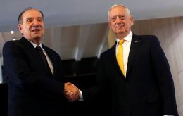 Defense Secretary Mattis (R) and Foreign Minister Aloysio Nunes met on Monday at the Itamaraty Palace in Brazil to reaffirm long-standing bilateral relationship