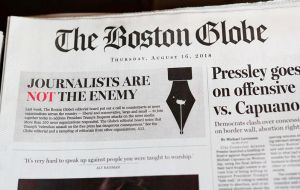 "The Boston Globe's initiative aims to denounce ""the war against the free press"" and that editorial boards take a stand against Trump's words regardless of their politics."