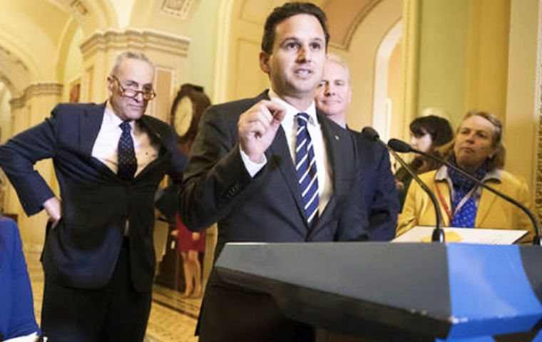 "The resolution brought forth by Hawaii Sen. Brian Schatz and Senate Minority Leader Chuck Schumer affirmed ""that the press is not the enemy of the people"" (Pic AP)"