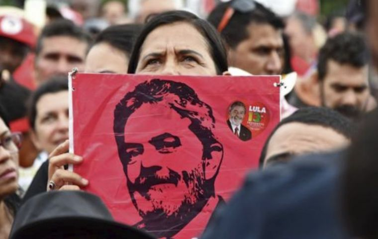 Lula is the candidate for his Workers Party (PT) and leads presidential polls ahead of the October ballot