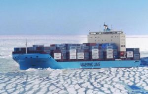 "The Venta Maersk, designed as a new ""ice-class"" container ship, will carry frozen fish and other refrigerated and general cargo"