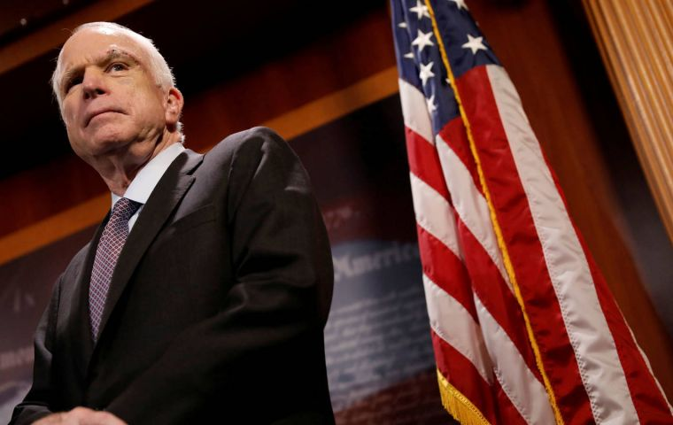 Republican Arizona Senator John McCain was diagnosed with an aggressive brain tumor in July last year and had been undergoing treatment