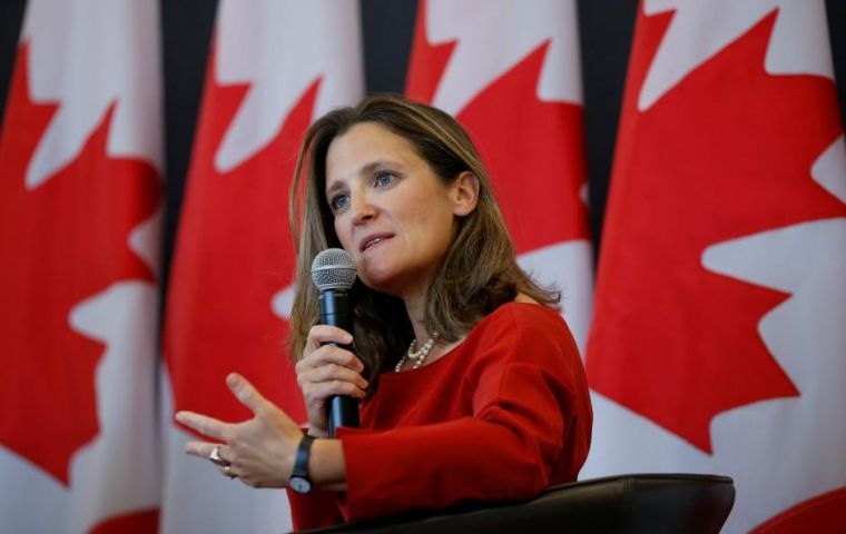 "Canada Foreign Minister Chrystia Freeland said talks were at ""a very intense moment"" but there was ""a lot of good will"" between negotiators"