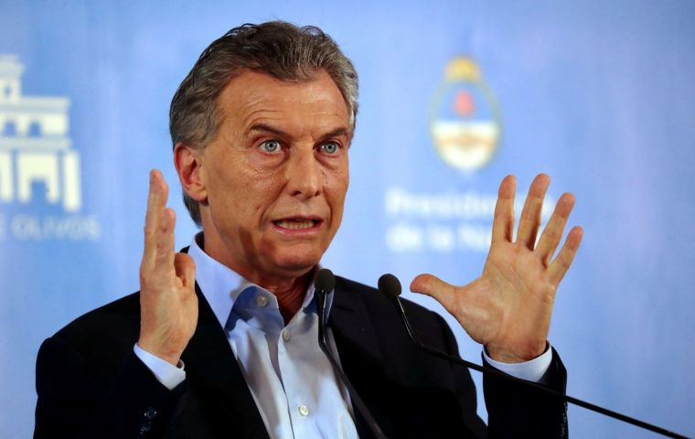 President Macri addressing the nation early Monday