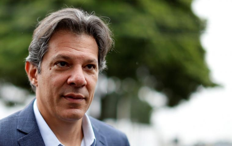 Haddad, an ex mayor of Sao Paulo, will likely become PT's presidential candidate within days as imprisoned Lula da Silva was barred from running. Photo: Reuters