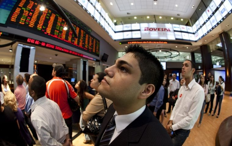 Stock markets across the region also suffered. Brazil's Bovespa dipped almost 2% as equities were lower in the consumption, financials and electric power sectors