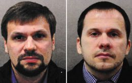 Prosecutors named the men as Alexander Petrov and Ruslan Boshirov, and said they are officers in Russia's foreign military intelligence agency, the GRU