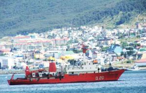 ARA Puerto Deseado is back in Ushuaia following the strong storm