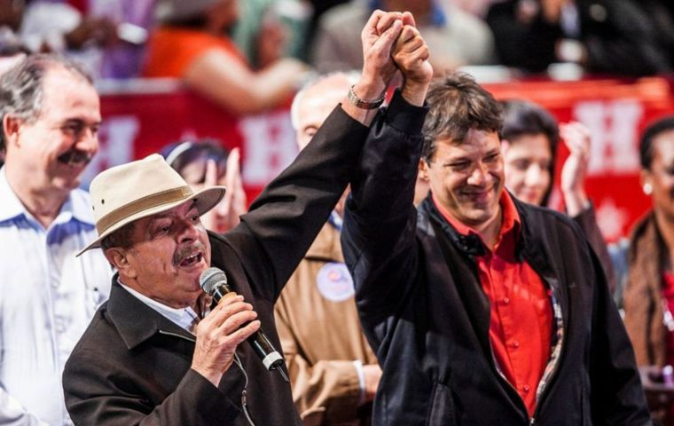 Lula spent Monday in his prison cell with his lawyers and Fernando Haddad, who is the vice presidential candidate on PT's  ticket and is Lula's choice to replace him