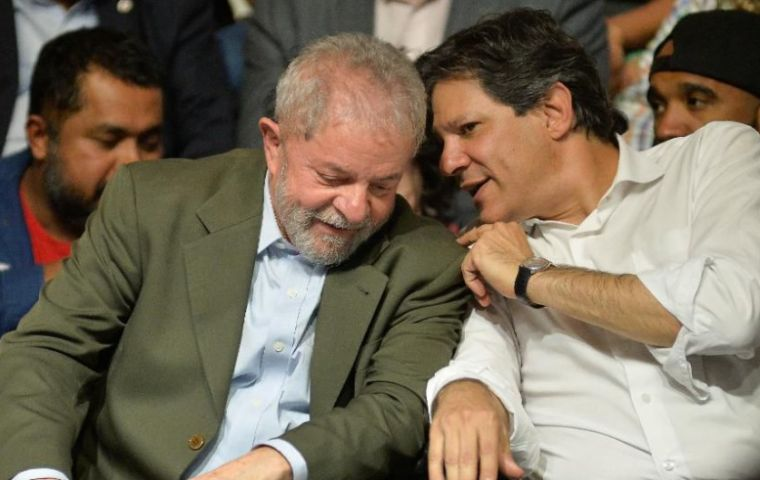 Lula had stepped aside to allow running mate Fernando Haddad to stand for the presidency, PT president Senator Gleisi Hoffman said