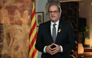 "Catalan regional president Quim Torra urged people to demonstrate. Mr Torra said at the end of the rally: ""We are starting an endless march."""