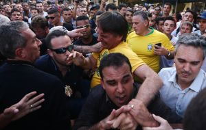 Bolsonaro was stabbed in the abdomen during a campaign event in Juiz de Fora, Minas Gerais state on Sept. 6