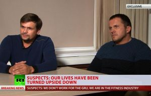 Appearing nervous and uncomfortable, the men confirmed their names as those announced by the UK investigators - Alexander Petrov and Ruslan Boshirov