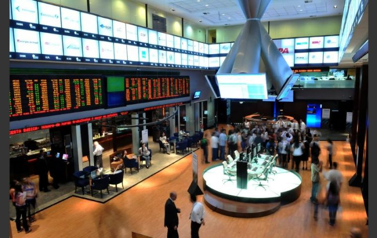 Bovespa index up more than 1% as the country's currency, the real, gained about 0.78%