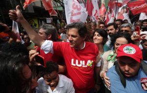 Lula's hand-picked successor to stand for the PT is former Sao Paulo mayor Fernando Haddad, and jumped to 13% of support in Friday's poll, up 4 points