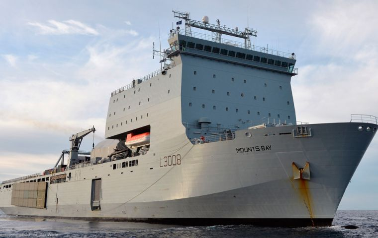As well as being able to carry vital aid and equipment, RFA Mounts Bay will use the Royal Navy Wildcat helicopter on board to provide aerial support