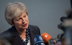 "Mrs May reiterated that she would not accept the EU's ""backstop"" plan to avoid a hard border in Northern Ireland"