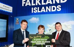 Former Shadow Foreign Secretary,  Emily Thornberry MP,  shows her support for a fare Brexit deal for Falkland Islands farming with MLA's Hon. Stacy Bragger and Hon. Mark Pollard. (Pic. by Gus Campbell