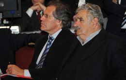 OAS Secretary General and elected Senator Luis Almagro next to his political mentor ex president Jose Mujica. (Photo Archive)