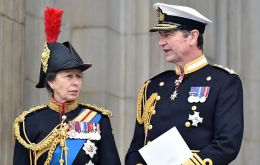 The Princess Royal will travel in the company of her husband, Vice Admiral Sir Timothy Laurence.
