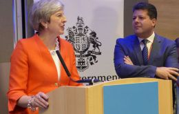 """We joined the EU together and we will be leaving the EU together,"" Mrs. Theresa May said at Gibraltar's government reception on Sunday evening in Birmingham (Pic GBC)"
