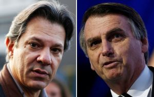 In the likely case of a runoff vote, on October 28, Bolsonaro and Haddad both had 42%, with the remaining voters undecided or saying they would annul their ballots