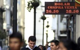 The Argentine peso closed 1.22% stronger at 37.69 per U.S. dollar on Wednesday, bringing this week's gains to 9.58%.