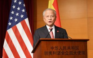 "China's ambassador to the US Cui Tiankai, said in an interview there was a ""much larger need for cooperation"" than competition with Washington"